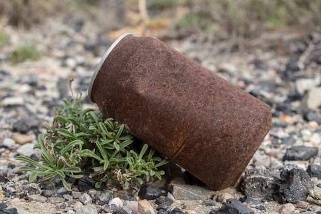 Boîte de conserve rouillée, boîte rouillée se trouvant dans le champ, poubelle
