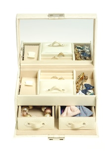 Boîte à cosmétiques en cuir sur fond blanc