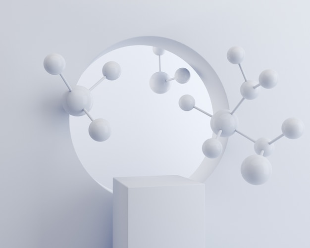 Boîte de cube blanc avec molécule sur mur blanc, fond de podium d'affichage pour stand de produit cosmétique, rendu 3d.