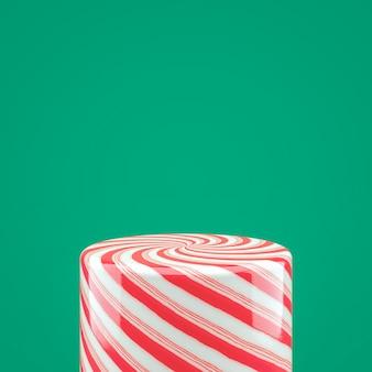 Boîte de cylindre de bonbons rouge vide pour l'affichage du produit. fond de noël 3d.