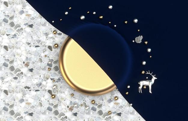 Boîte de cylindre doré de luxe avec concept de noël