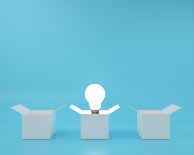Boîte et la différence idée d'ampoule flottant fond