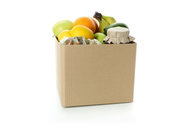 Boîte de dons avec de la nourriture isolé sur fond blanc