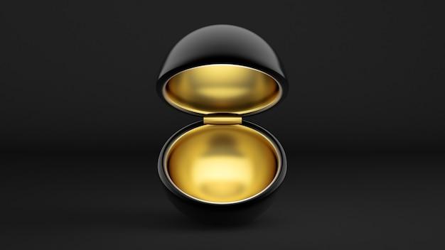 Boîte d'emballage de cadeaux de vacances de luxe avec de l'or à l'intérieur et sombre à l'extérieur en illustration 3d
