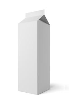 Boîte d'emballage en carton de lait ou de jus isolée sur fond blanc. rendu 3d