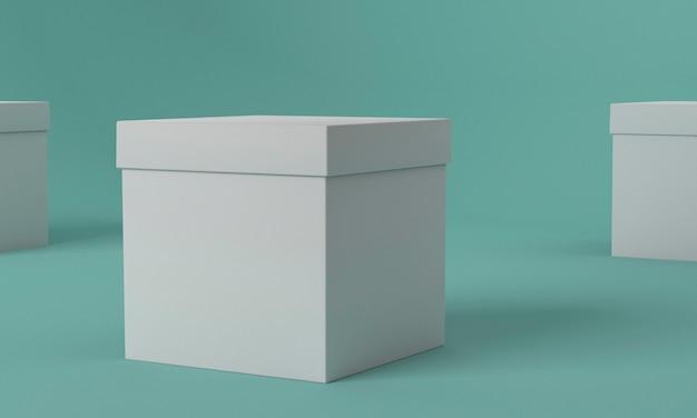 Boîte d'emballage cube vue de face