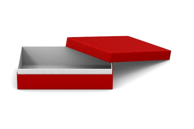 Boîte d'emballage rouge ouverte sur blanc