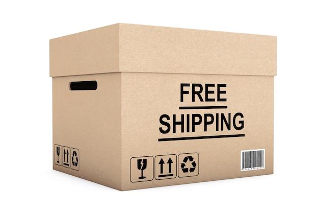 Boîte de livraison gratuite sur fond blanc