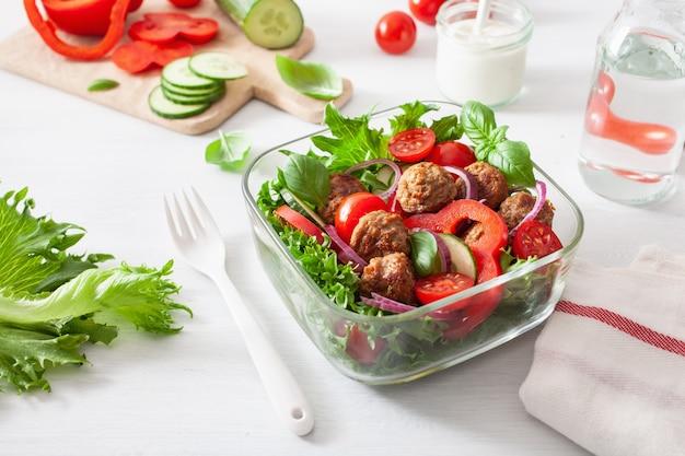 Boîte à lunch keto paleo avec boulettes de viande, laitue, tomate, concombre, poivron