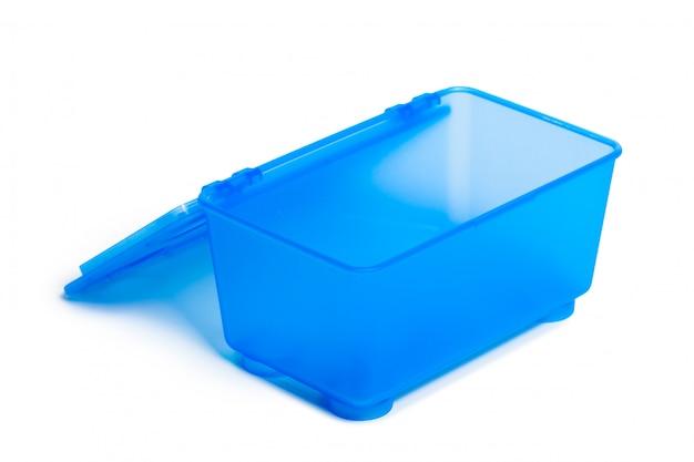 Boîte à lunch en plastique isolé sur fond blanc