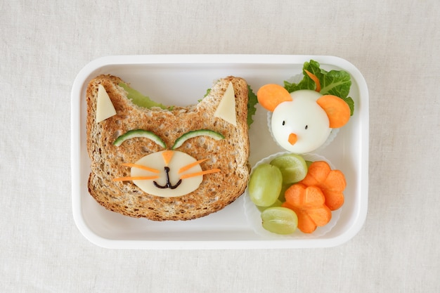 Boîte à lunch saine chat et souris