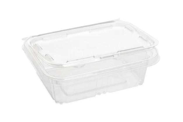 Boîte à lunch transparente en plastique jetable isolée.