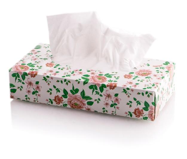 Boîte à mouchoirs de la fleur isolée
