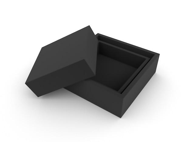 Boîte noire sur blanc isolé