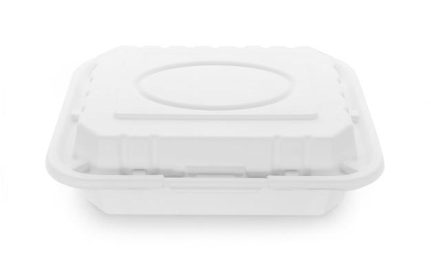 Boîte de nourriture en papier sur blanc.