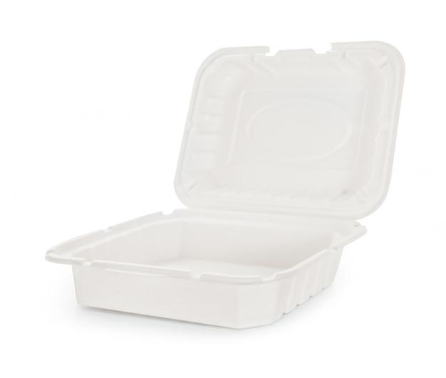 Boîte de nourriture en papier sur fond blanc.
