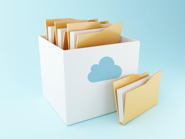Boîte de nuage 3d avec des fichiers. stockage en ligne