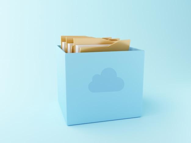 Boîte de nuage 3d avec des fichiers.