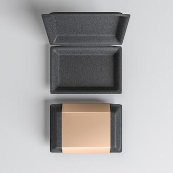 Boîte ouverte et fermée avec couvercle doré