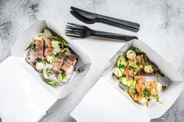 Boîte de papier de livraison de nourriture pour le petit déjeuner avec sandwich