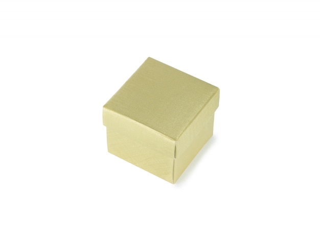 Boîte de papier d'or isolée