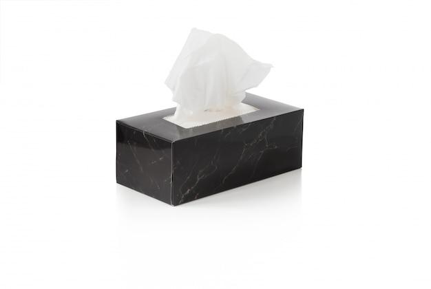 Boîte de papier de soie blanc isolé