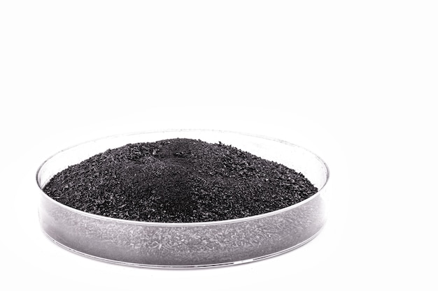 Boîte de pétri avec poudre noire, charbon de bois en poudre utilisé dans l'industrie pharmaceutique ou de la beauté