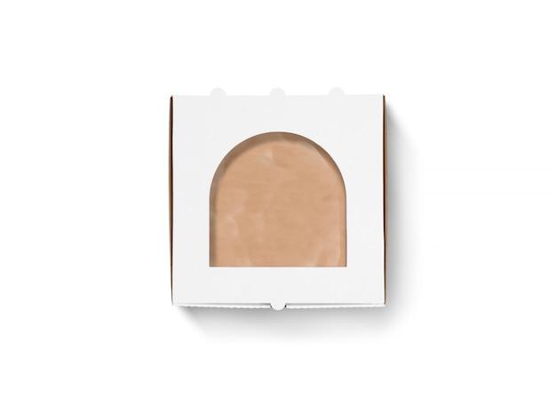 Boîte à pizza en carton blanc maquette isolé, vue de dessus