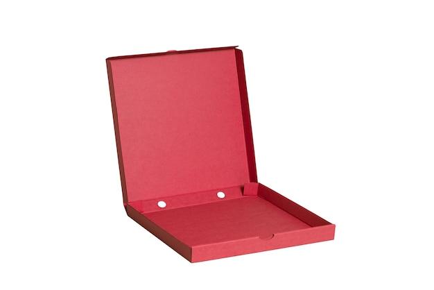 Boîte à pizza ouverte en carton rouge, caisse de nourriture
