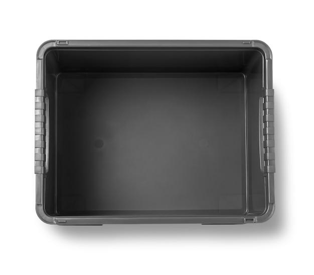 Boîte en plastique noir isolé sur blanc avec un tracé de détourage