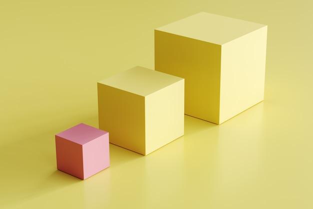 Boîte rose exceptionnelle et boîtes jaunes de différentes tailles sur fond jaune. idée de concept minimal