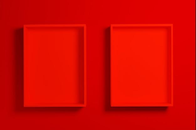 Boîte rouge ou maquette de plateau sur fond rouge, rendu 3d.