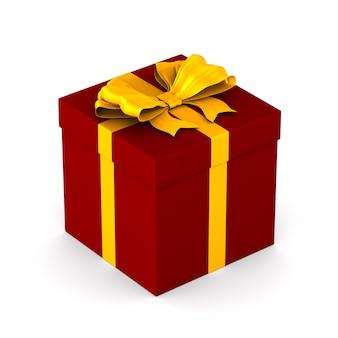 Boîte rouge avec noeud doré sur espace blanc