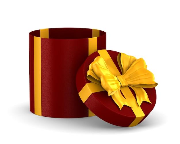 Boîte rouge ouverte avec noeud doré sur blanc