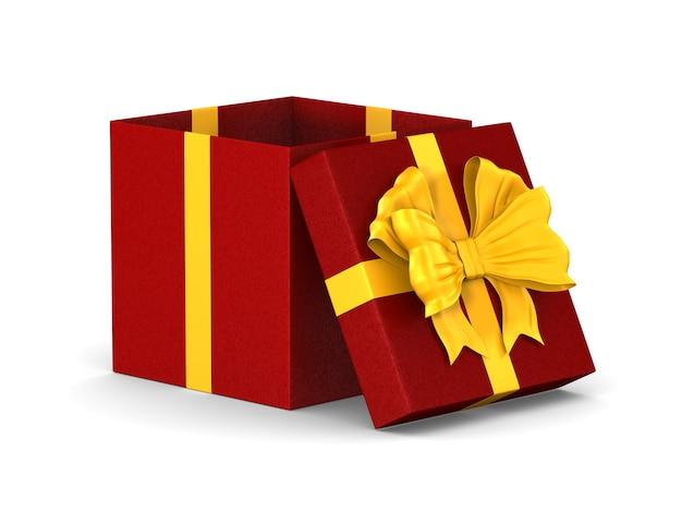 Boîte rouge ouverte avec noeud doré sur espace blanc