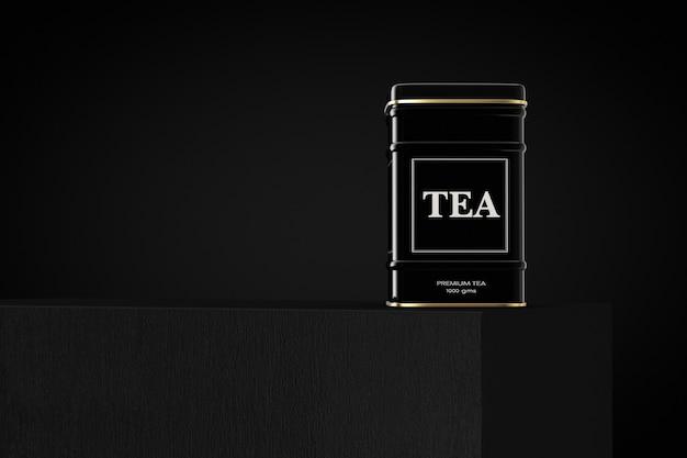 Boîte à thé en métal noir sur cube sur fond noir. rendu 3d