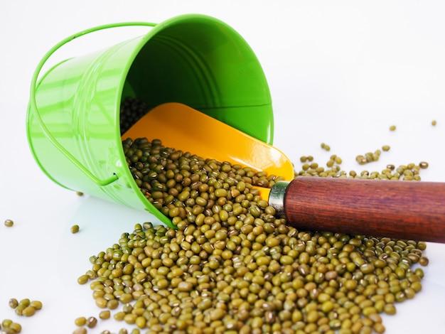 Boîte verte et pelle jaune avec haricot mungo isolé sur une surface blanche.