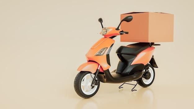 Les boîtes d'articles sont sur les motos. rendu et illustration 3d.