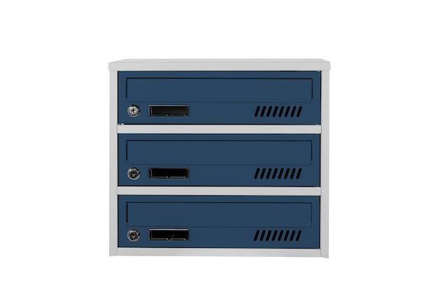 Boîtes aux lettres de couleur bleue sur fond blanc isolé. boîte aux lettres pour l'entrée de l'immeuble. boîte aux lettres en métal