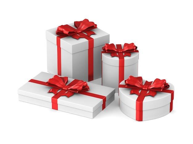 Boîtes blanches avec arc rouge sur espace blanc. illustration 3d isolée
