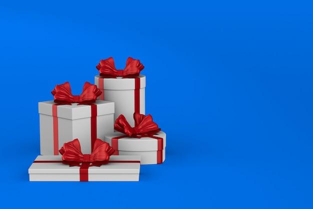 Boîtes blanches avec noeud rouge sur bleu. illustration 3d isolée