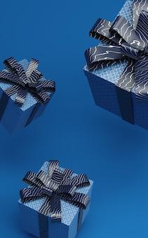 Boîtes bleues classiques en lévitation dans l'illustration de rendu de l'air avec ruban de motif. couleur tendance de 2020