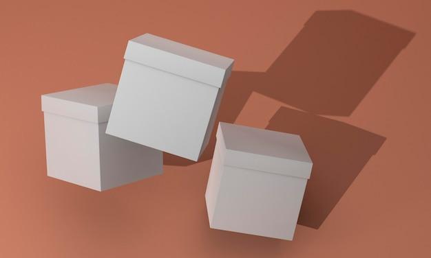 Boîtes en carton cube abstrait avec des ombres
