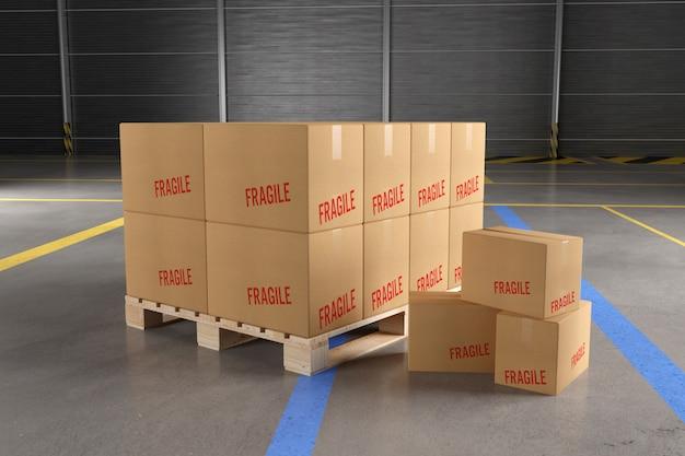 Boîtes en carton dans une maquette d'entrepôt