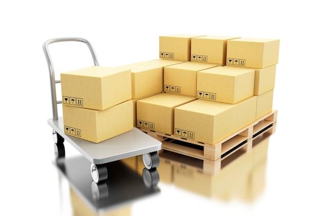 Boîtes en carton d'expédition 3d sur palette