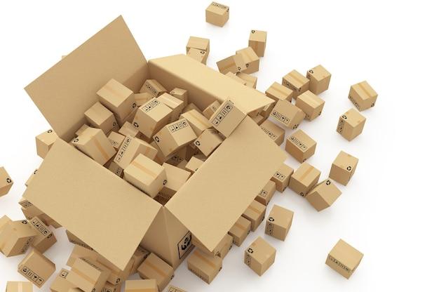 Boîtes en carton sur illustration 3d blanche
