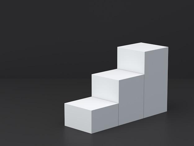 Boîtes de cube blanc étape avec fond de mur blanc foncé pour l'affichage. rendu 3d.