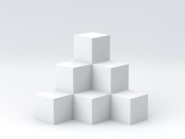 Boîtes de cube blanc sur fond blanc pour l'affichage. rendu 3d.