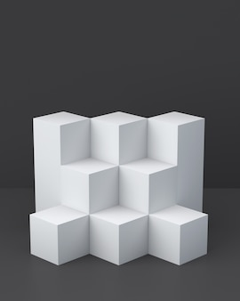 Boîtes de cube blanc sur fond sombre pour l'affichage. rendu 3d.