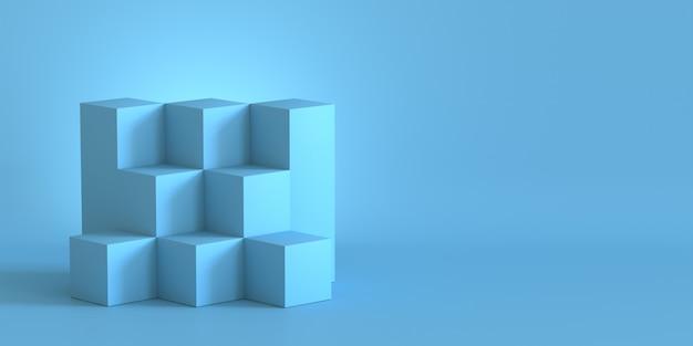 Boîtes de cube bleu avec fond de mur blanc. rendu 3d.
